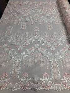 Bridal Wedding Lace Fabric By The Yard - Hand Embroidered Flower 3D PINK / WHITE For Veil Mesh Dress Top Wedding Decoration - KINGDOM OF FABRICS