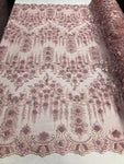 Bridal Wedding Lace Fabric By The Yard - Hand Embroidered Flower 3D DUSTY ROSE For Veil Mesh Dress Top Wedding Decoration - KINGDOM OF FABRICS