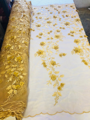 Bridal Lace Fabric - Hand Embroidered Flower 3D Pearls GOLD For Veil Mesh Dress Top Wedding Decoration By The Yard - KINGDOM OF FABRICS