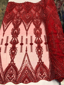 Red Blue Heavy Beaded Fabric -Embroidered Beads With Sequins On A Mesh Lace For Bridal Veil/Wedding/Prom/Dress/Decorations By The Yard