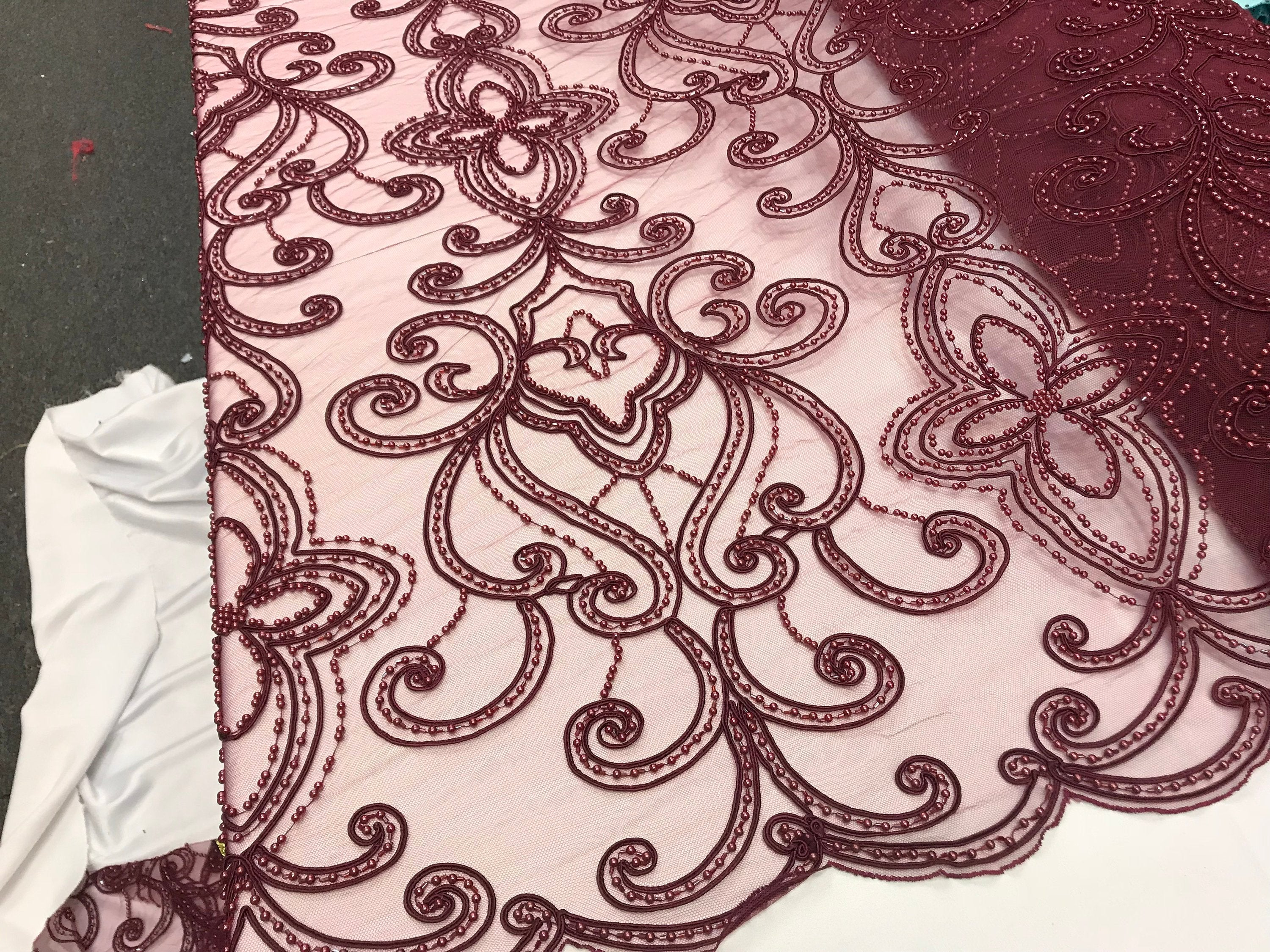 Burgundy Design Beaded Mesh Lace Fabric Bridal Wedding Sold By Yard clothing, jackets, dresses,skirts, applications, table covers runners - KINGDOM OF FABRICS