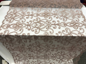 Mauve Design Beaded Mesh Lace Fabric Bridal Wedding Sold By Yard