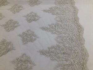 Off White Beaded Fabric, Lace Fabric By The Yard - Embroider Beaded On A Mesh For Bridal Veil Flower-Floral Mesh Dress Top Wedding Decor