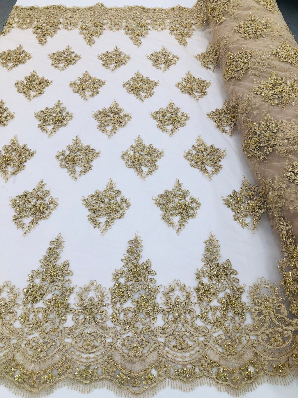 Champagne Beaded Fabric, Lace Fabric By The Yard - Embroider Beaded On A Mesh For Bridal Veil Flower-Floral Mesh Dress Top Wedding Decor - KINGDOM OF FABRICS