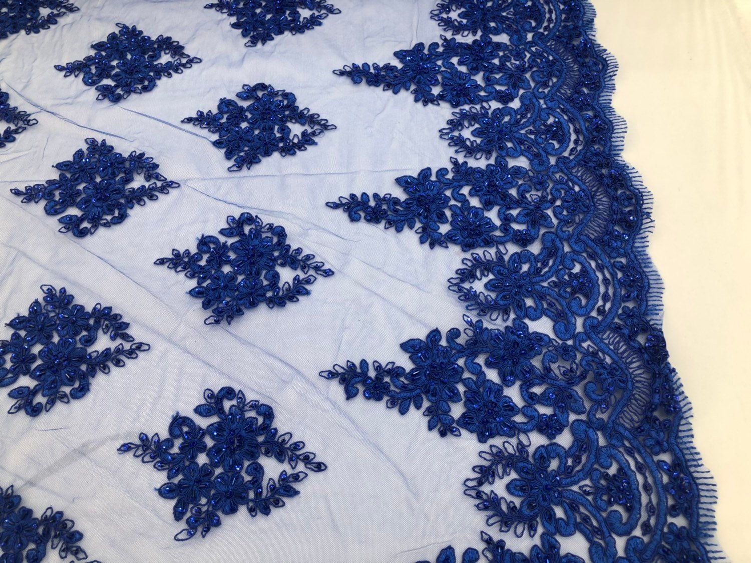 Royal Blue Beaded Fabric, Lace Fabric By The Yard - Embroider Beaded On A Mesh For Bridal Veil Flower-Floral Mesh Dress Top Wedding Decor