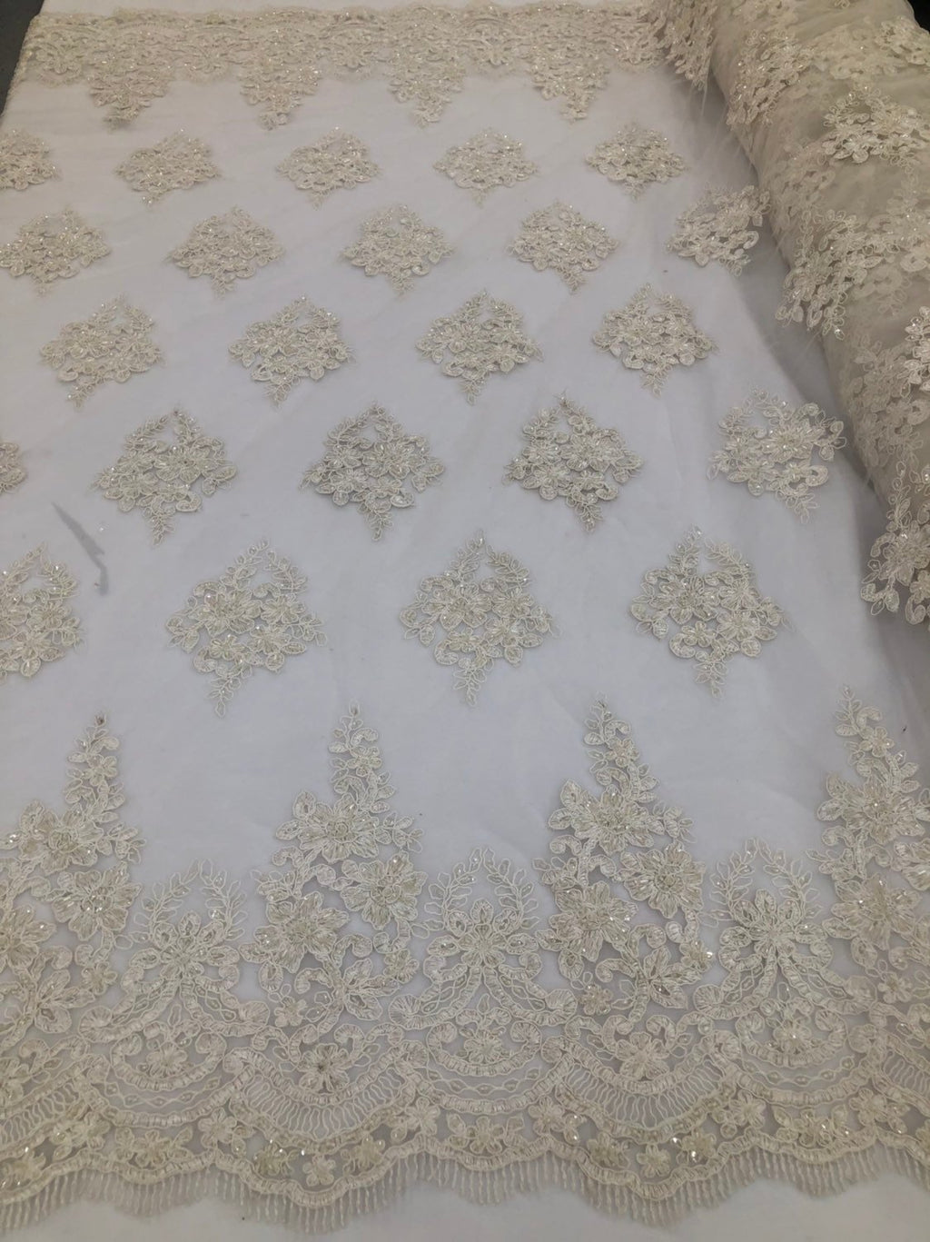 Ivory Beaded Fabric, Lace Fabric By The Yard - Embroider Beaded On A Mesh For Bridal Veil Flower-Floral Mesh Dress Top Wedding Decor