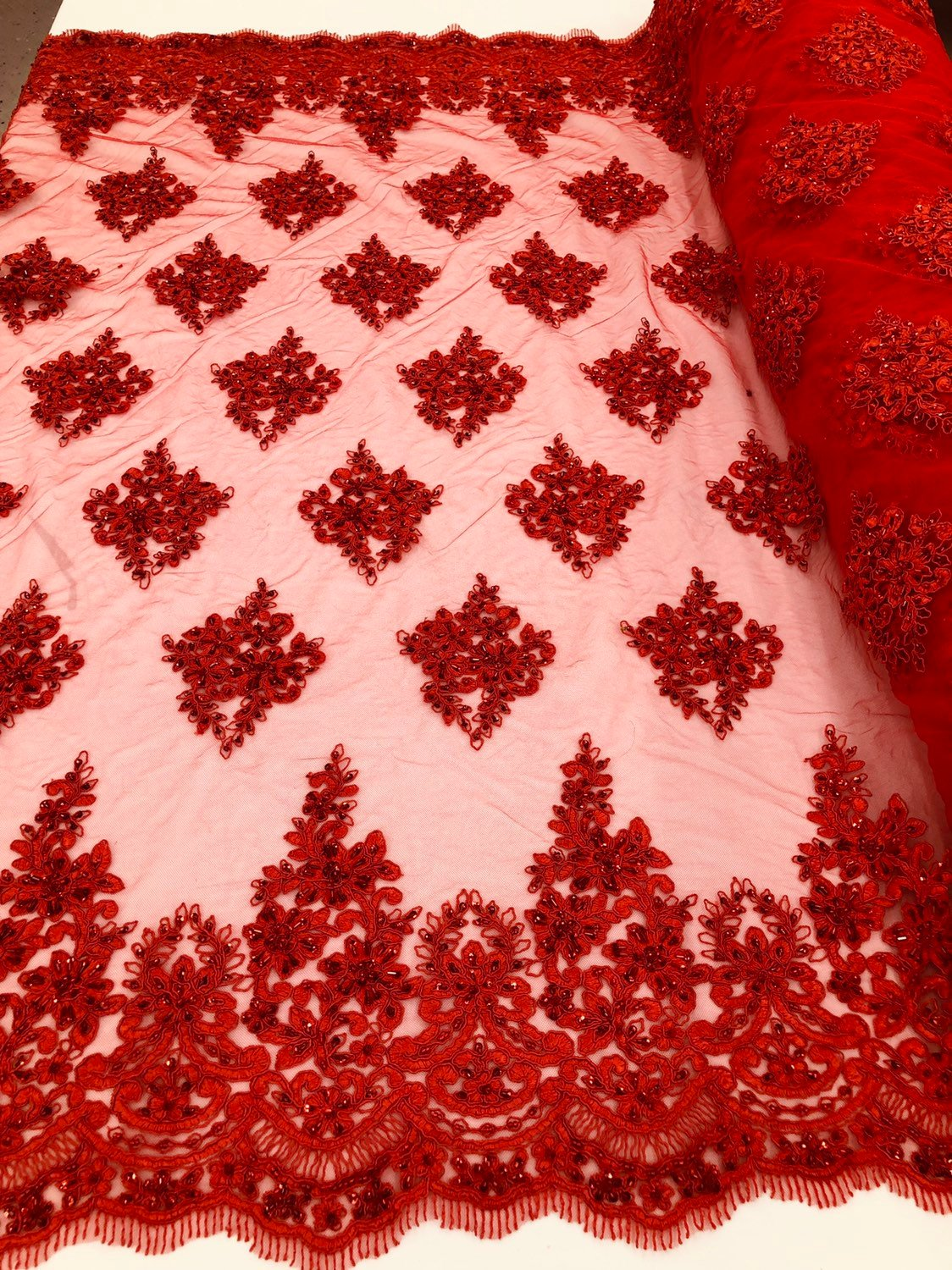 Red Beaded Fabric, Lace Fabric By The Yard - Embroider Beaded On A Mesh For Bridal Veil Flower-Floral Mesh Dress Top Wedding Decor
