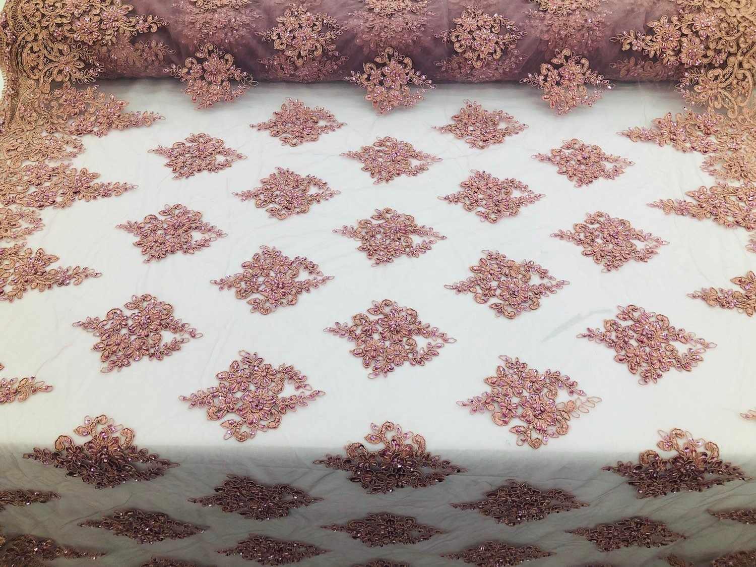 Dusty Rose Beaded Fabric, Lace Fabric By The Yard - Embroider Beaded On A Mesh For Bridal Veil Flower-Floral Mesh Dress Top Wedding - KINGDOM OF FABRICS