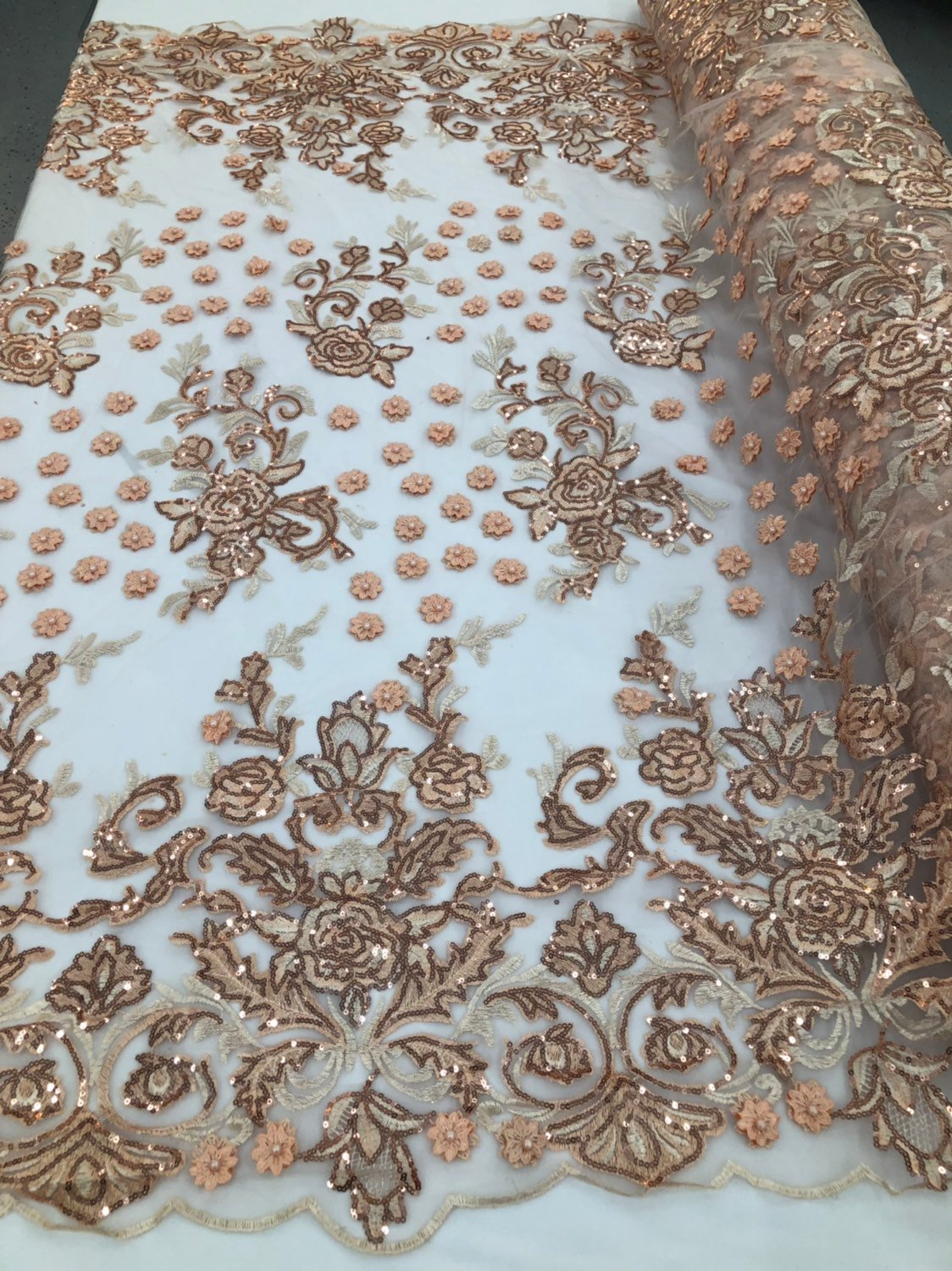 BLUSH PEACH Lace Fabric - Mini 3D Flower Embroidered On A Mesh Sequins And Beaded Fabric Floral Wedding Bridal Veil Prom-Gown By The Yard - KINGDOM OF FABRICS