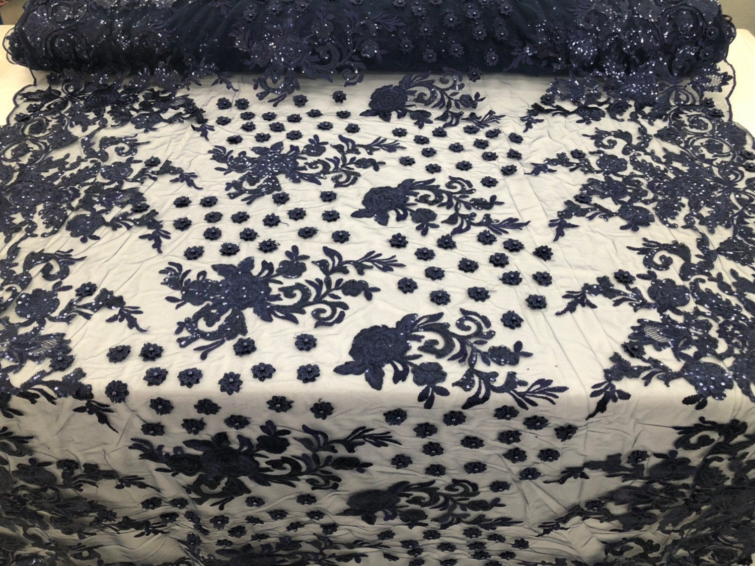 NAVY Lace Fabric - Mini 3D Flower Embroidered On A Mesh Sequins And Beaded Fabric Floral Wedding Bridal Veil Prom-Gown By The Yard
