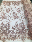 BLUSH Lace Fabric - Mini 3D Flower Embroidered On A Mesh Sequins And Beaded Fabric Floral Wedding Bridal Veil Prom-Gown By The Yard - KINGDOM OF FABRICS