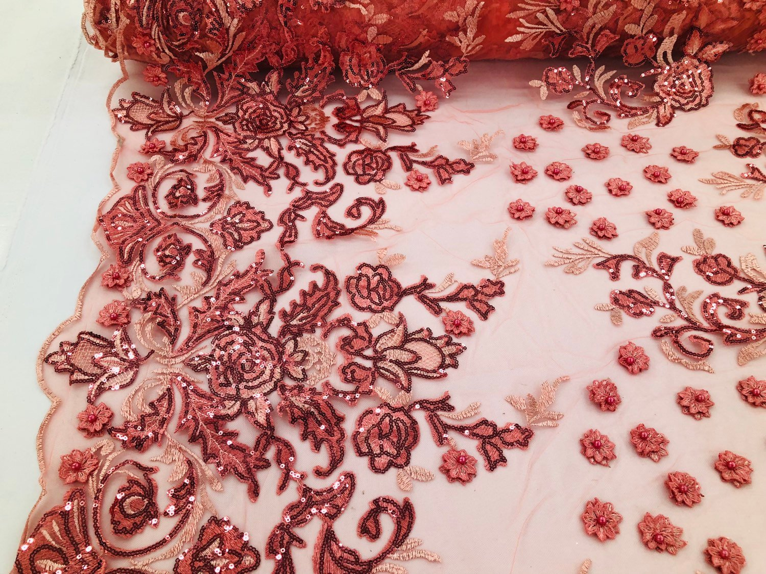 CORAL Lace Fabric - Mini 3D Flower Embroidered On A Mesh Sequins And Beaded Fabric Floral Wedding Bridal Veil Prom-Gown By The Yard - KINGDOM OF FABRICS