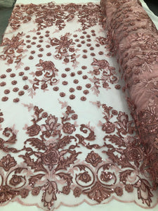 DUSTY ROSE Lace Fabric - Mini 3D Flower Embroidered On A Mesh Sequins And Beaded Fabric Floral Wedding Bridal Veil Prom-Gown By The Yard - KINGDOM OF FABRICS