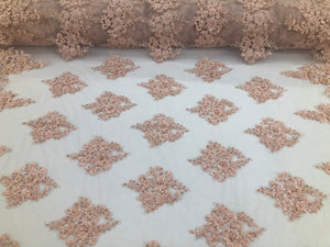 Blush Pink Beaded Fabric, Lace Fabric By The Yard - Embroider Beaded On A Mesh For Bridal Veil Flower-Floral Mesh Dress Top Wedding Decor - KINGDOM OF FABRICS