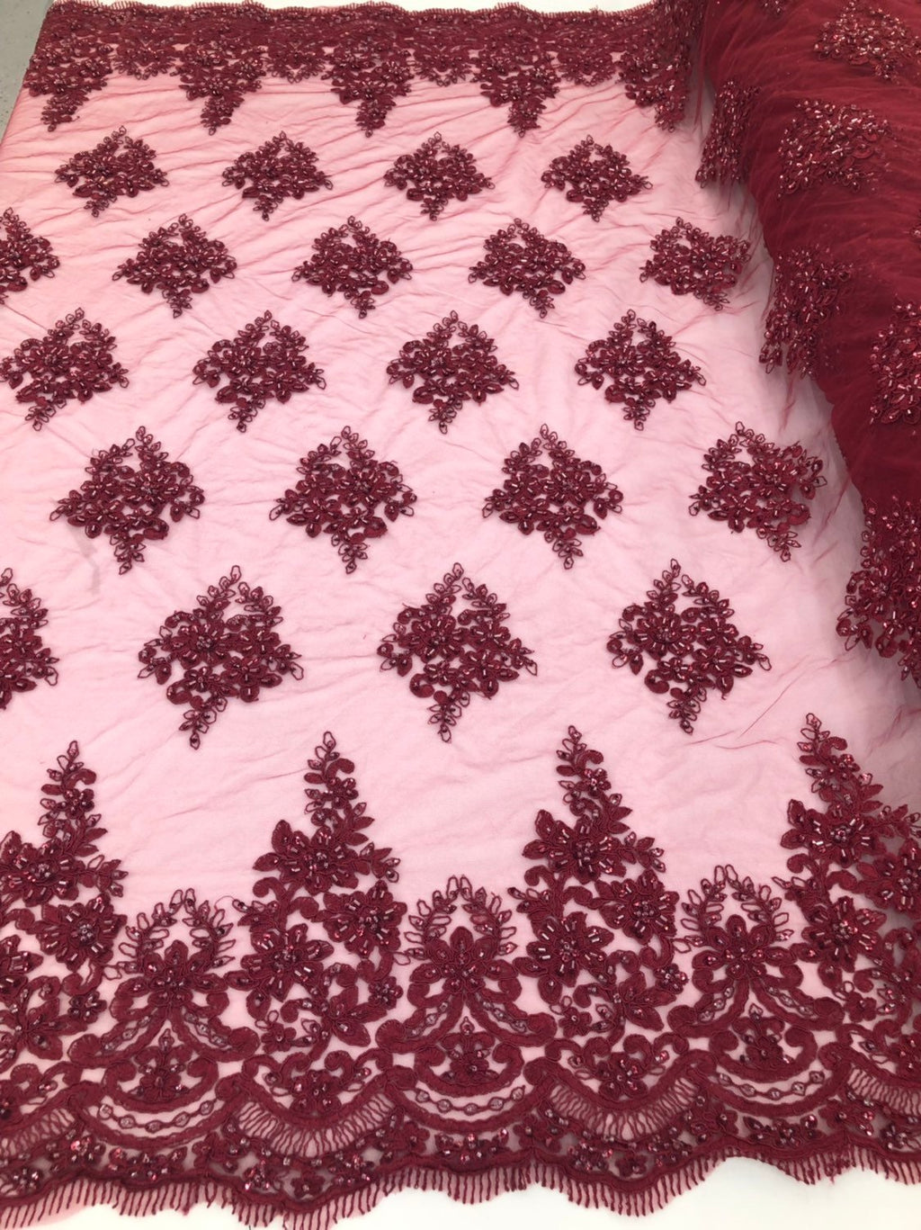 Burgundy Beaded Fabric, Lace Fabric By The Yard - Embroider Beaded On A Mesh For Bridal Veil Flower-Floral Mesh Dress Top Wedding Decor - KINGDOM OF FABRICS