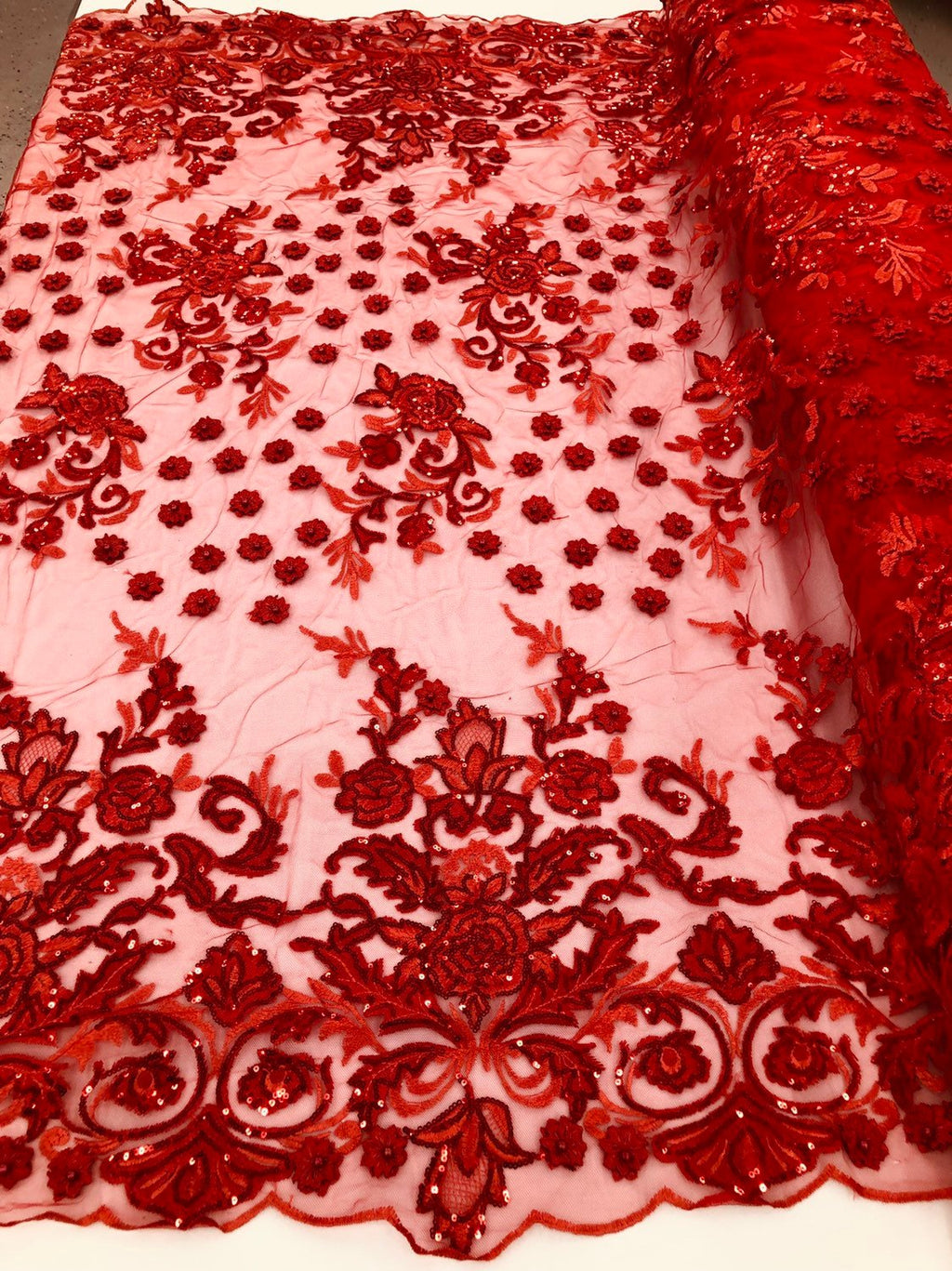RED Lace Fabric - Mini 3D Flower Embroidered On A Mesh Sequins And Beaded Fabric Floral Wedding Bridal Veil Prom-Gown - Sol By The Yard