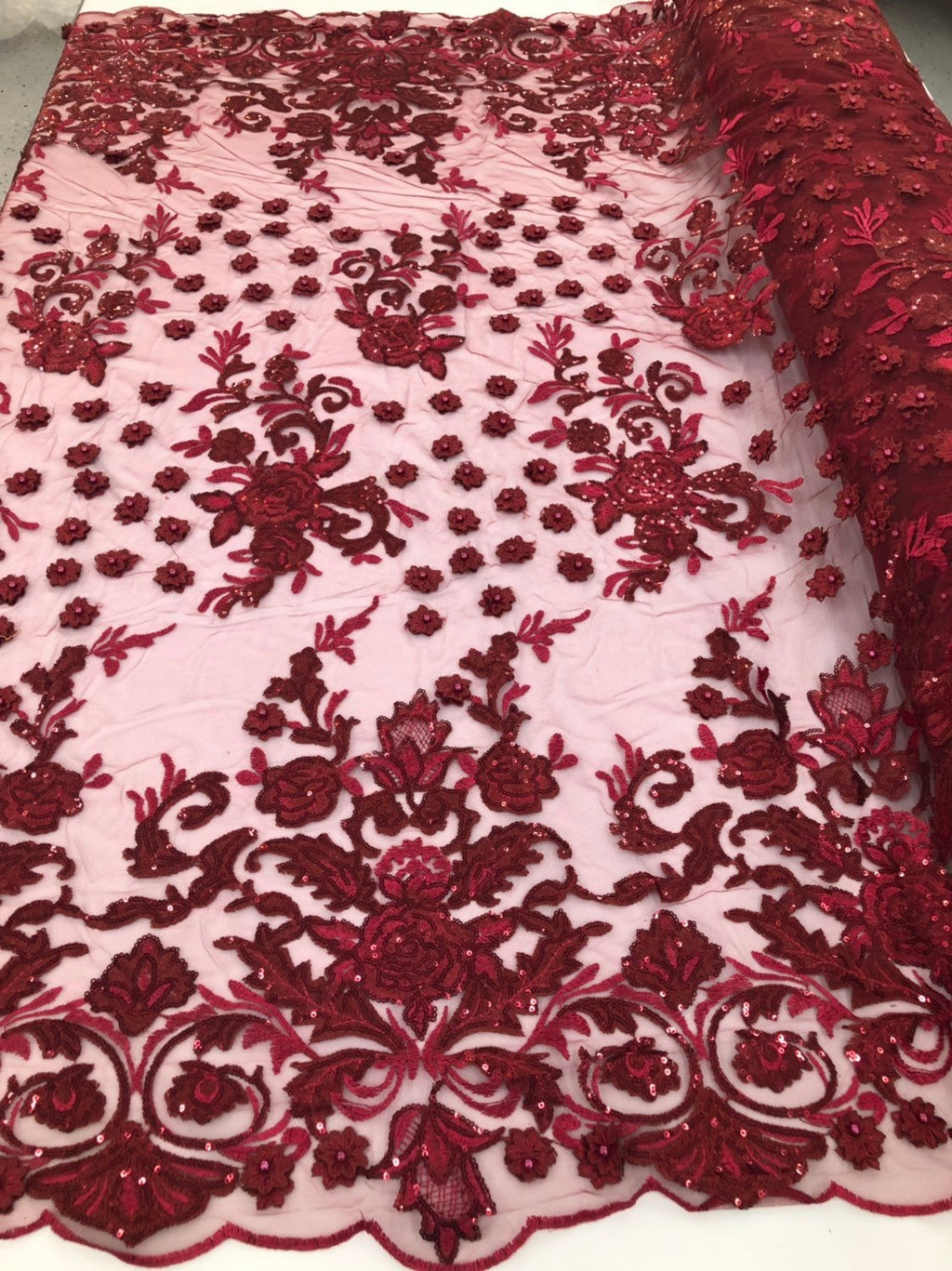 BURGUNDY Lace Fabric - Mini 3D Flower Embroidered On A Mesh Sequins And Beaded Fabric Floral Wedding Bridal Veil Prom-Gown By The Yard - KINGDOM OF FABRICS