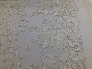 WHITE Lace Fabric - Mini 3D Flower Embroidered On A Mesh Sequins And Beaded Fabric Floral Wedding Bridal Veil Prom-Gown By The Yard
