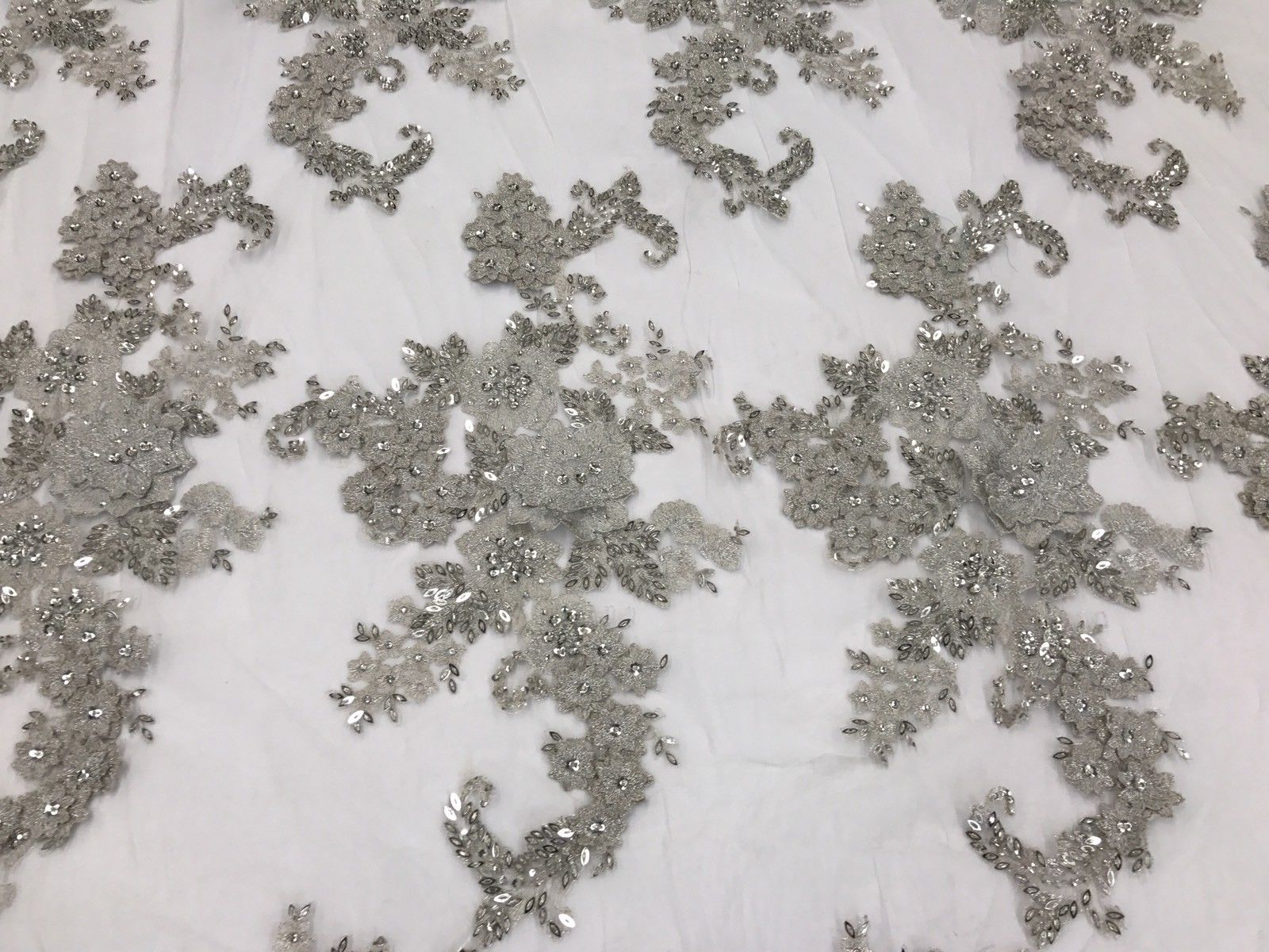 Lace Fabric - 3D Flower Beaded With Precious Crystal Sequins Silver By The Yard - KINGDOM OF FABRICS