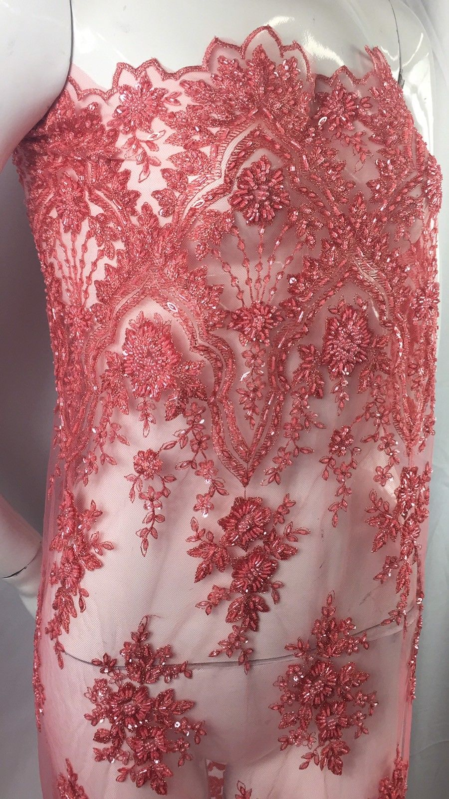 Beaded fabric - Embroidered Mesh Squin Coral Bridal Veil & Wedding By The Yard - KINGDOM OF FABRICS