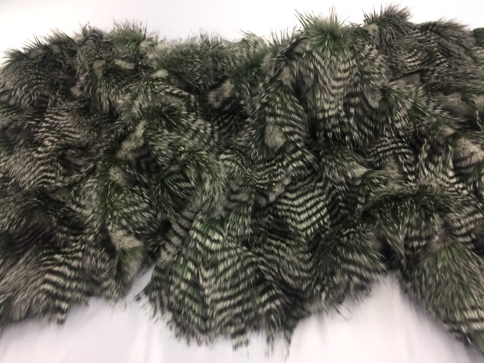 "FAUX FAKE FUR FEATHERED BIRD LONG PILE FABRIC - Olive - 62"" WIDE BY YARD COAT - KINGDOM OF FABRICS"