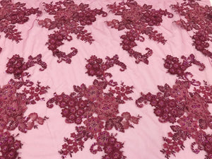 Lace Fabric - 3D Flower Beaded With Precious Crystal Sequins Fuchsia By The Yard - KINGDOM OF FABRICS