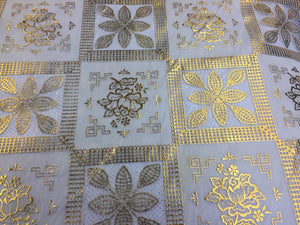 Metallic Gold/white squares tablecloth vinyl fabric inch 54 x 36-Sold by yard - KINGDOM OF FABRICS