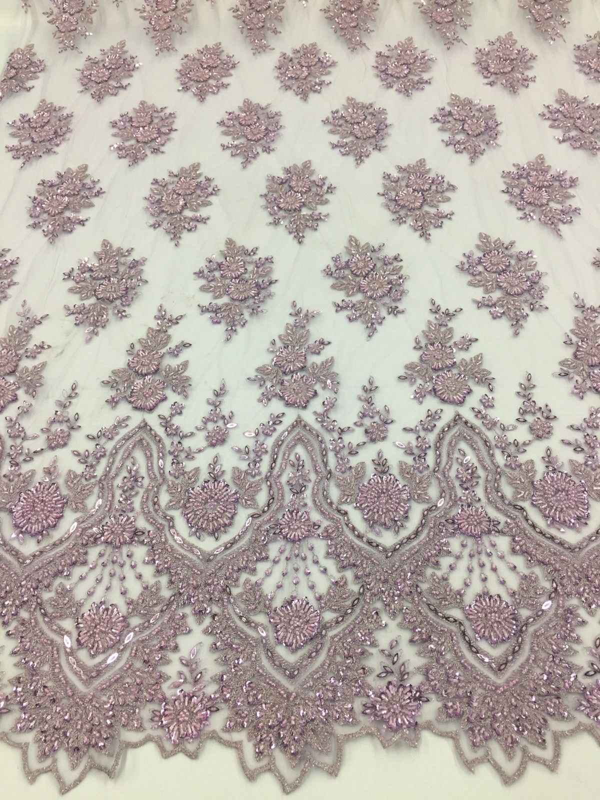 Beaded fabric - Embroidered Mesh Squin Levander Bridal Veil & Wedding By Yard - KINGDOM OF FABRICS