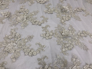 Lace Fabric - 3D Flower Beaded With Precious Crystal Sequins Ivory By The Yard - KINGDOM OF FABRICS