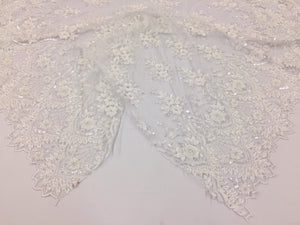 Beaded fabric - Embroidered Mesh Squin White Bridal Veil & Wedding By The Yard - KINGDOM OF FABRICS