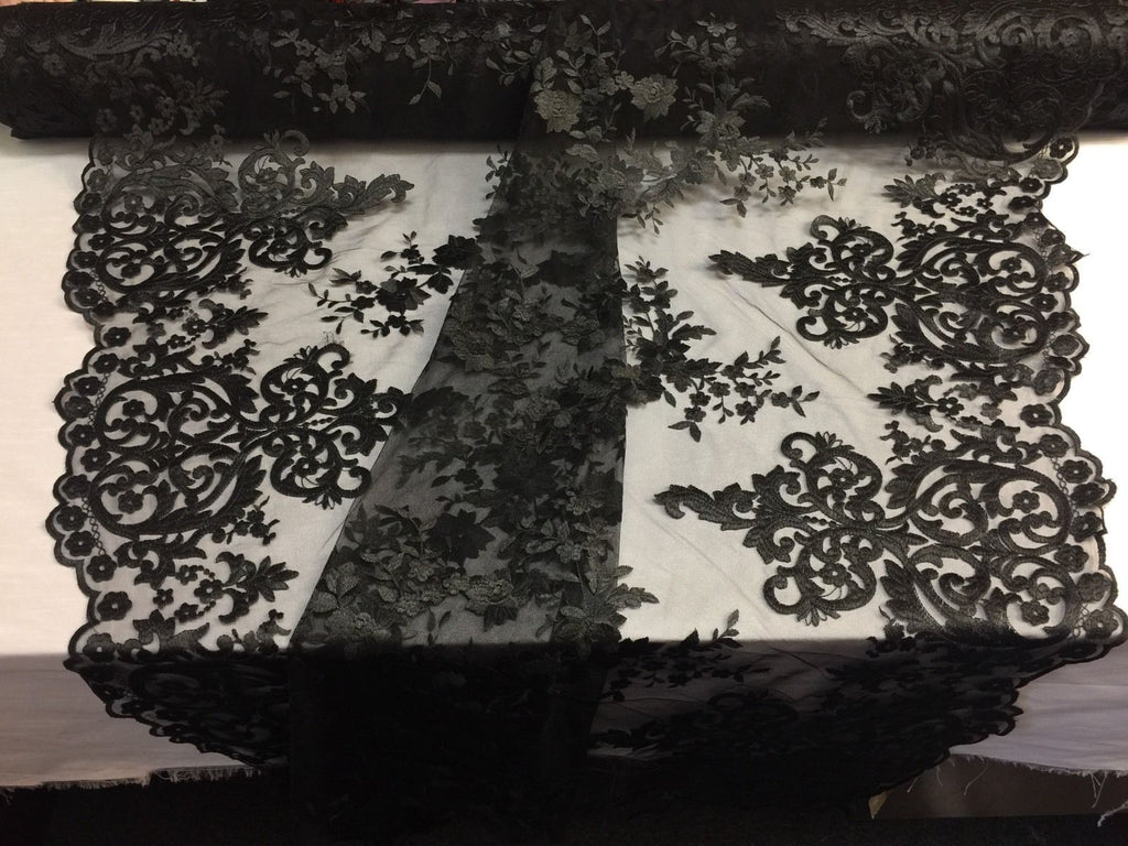 Black Embroidered Lace Fabric On A 2 Way Stretch - Wedding Dress - By The Yard - KINGDOM OF FABRICS