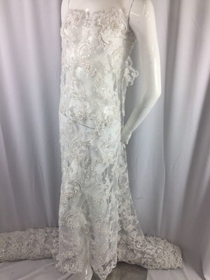 Bridal Wedding Beaded Mesh Lace Fabric White. Sold By The Yard - KINGDOM OF FABRICS