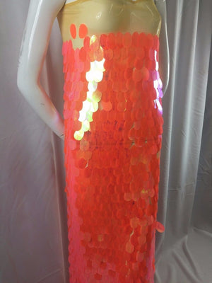 Luxurious Super Big Sequins Oval Dots Mesh Lace Multi Color Orange. 1 Yard - KINGDOM OF FABRICS