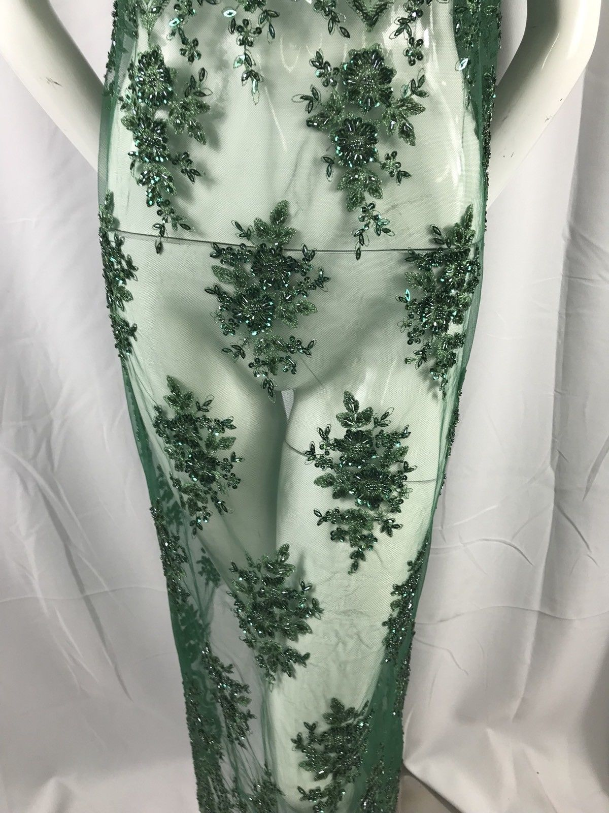 Lace Fabric Green Embroider And Heavy beaded On A Mesh Bridal Wedding 1 Yard - KINGDOM OF FABRICS