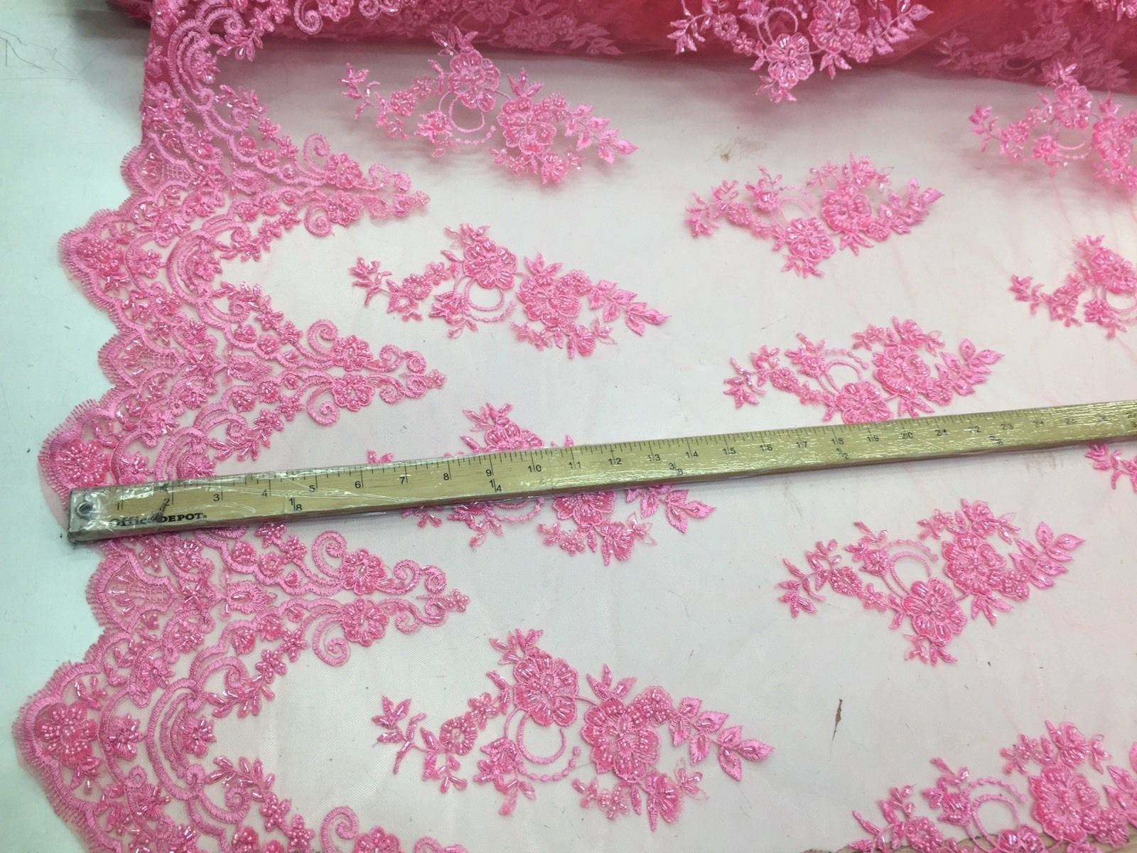 Beautiful Candy Pink hand beaded flowers on a mesh-Prom-nightgown-by the yard. - KINGDOM OF FABRICS