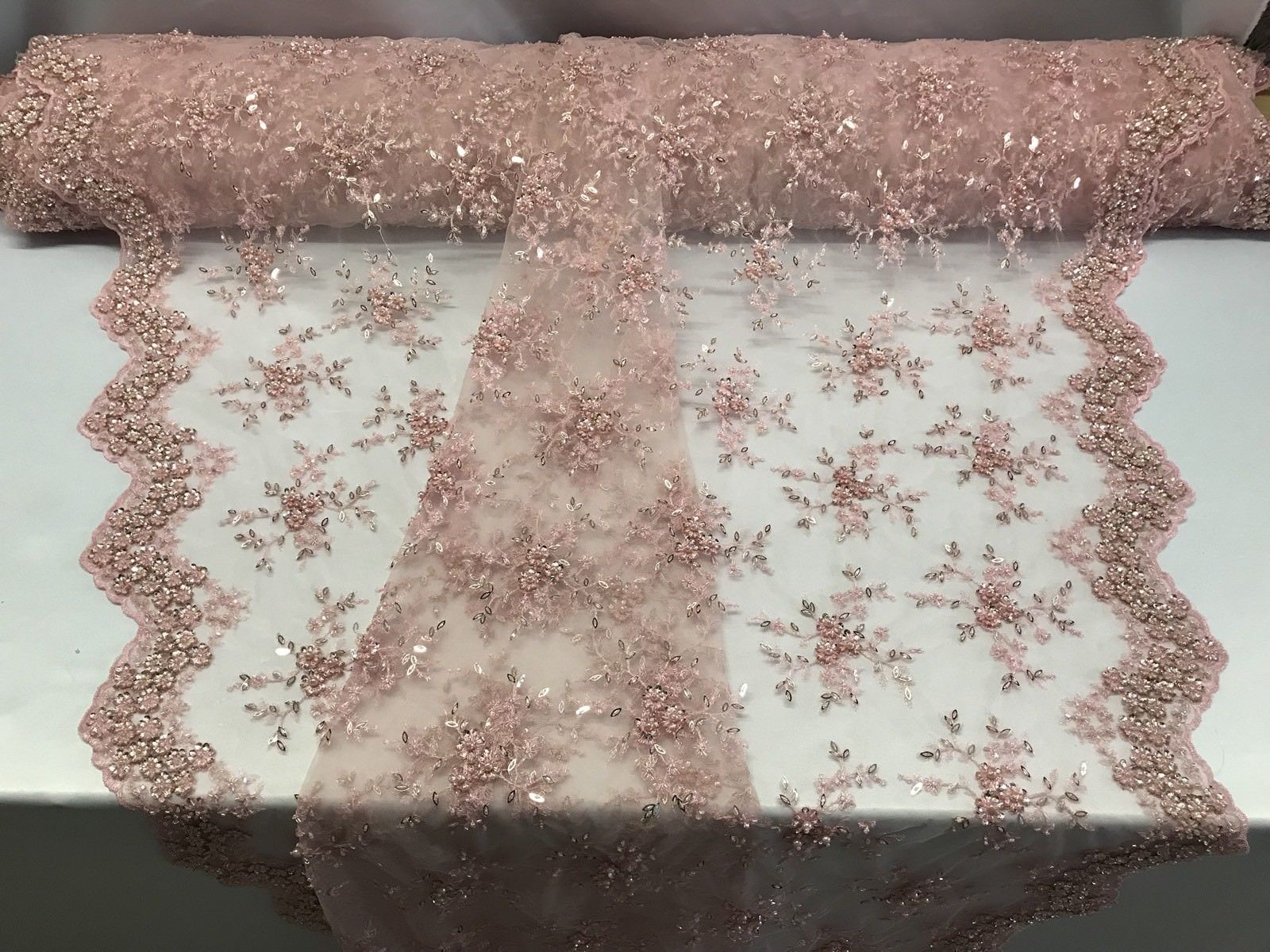 Lace Fabric - Lt Pink Mesh Embroidery Beaded & Crystal Sequins By The Yard - KINGDOM OF FABRICS