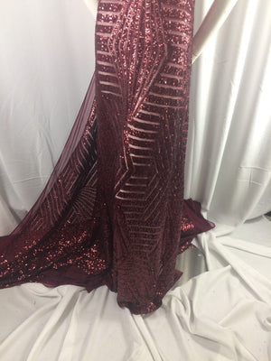 Sequins Fabric Geometric diamond design Fashion mesh Burgundy By The Yard - KINGDOM OF FABRICS