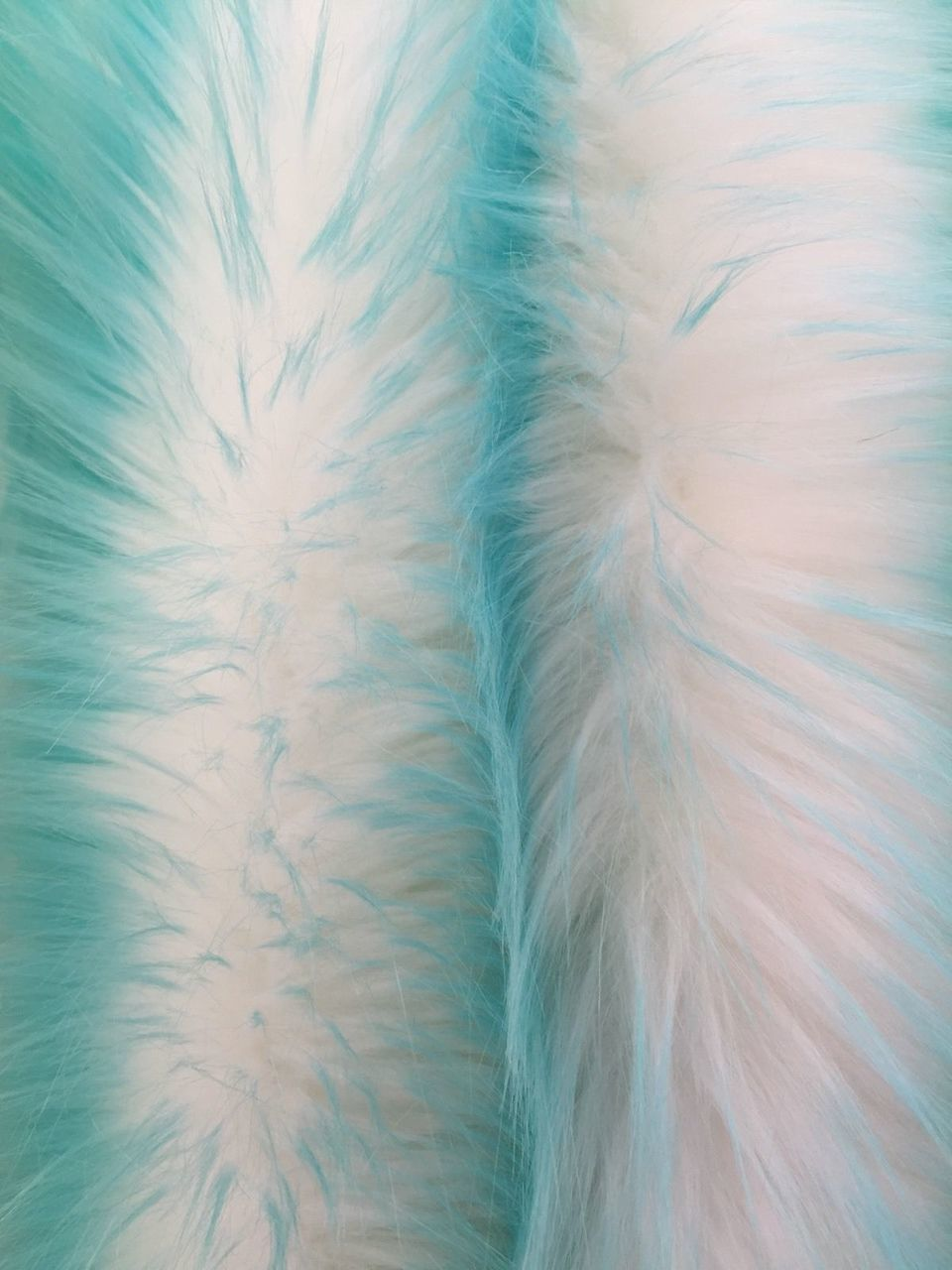 Super Soft Faux Fur Twotone Shaggy Fabric Aqua/offwhite. Sold By The Yard - KINGDOM OF FABRICS