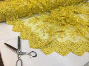 Majestic bridal wedding super beaded mesh lace fabric bright yellow. Sold 1 Yard - KINGDOM OF FABRICS