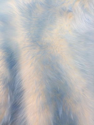Animal Design Baby Blue Ivory Faux Fur Fabric. Sold By The Yard - KINGDOM OF FABRICS