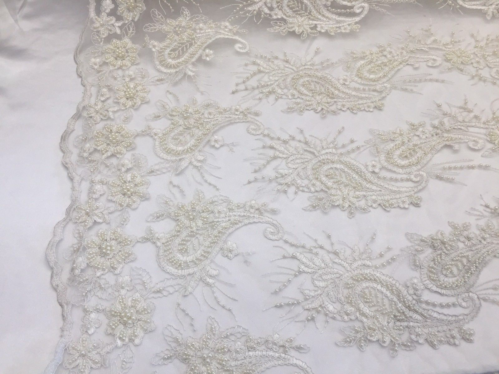 Lace fabric - Wedding Pearls Ivory Flower Mesh Dress & Birdal Veil By The Yard - KINGDOM OF FABRICS