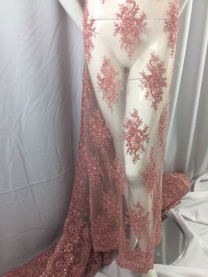 Exclusive Designs Beaded Mesh Lace Fabric Bridal Wedding Sold By Yard - KINGDOM OF FABRICS