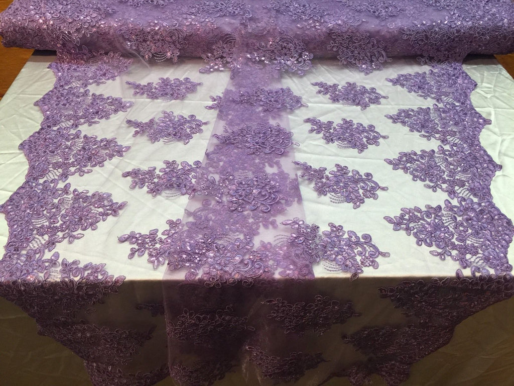 Authentic Mesh Lace Fabric Bridal Embroidered With Sequins Lilac. Sold by yard - KINGDOM OF FABRICS