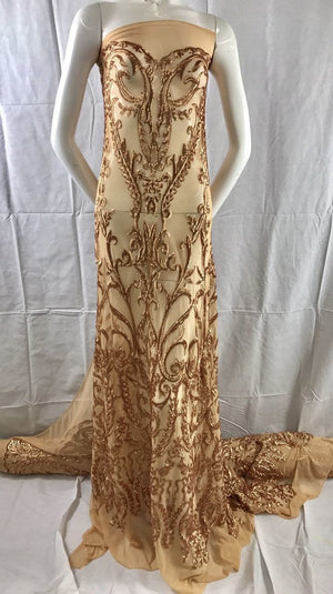 Royalty Designs Sequins Mesh Lace Fabric Bridal Wedding Gold. Sold By The Yard - KINGDOM OF FABRICS