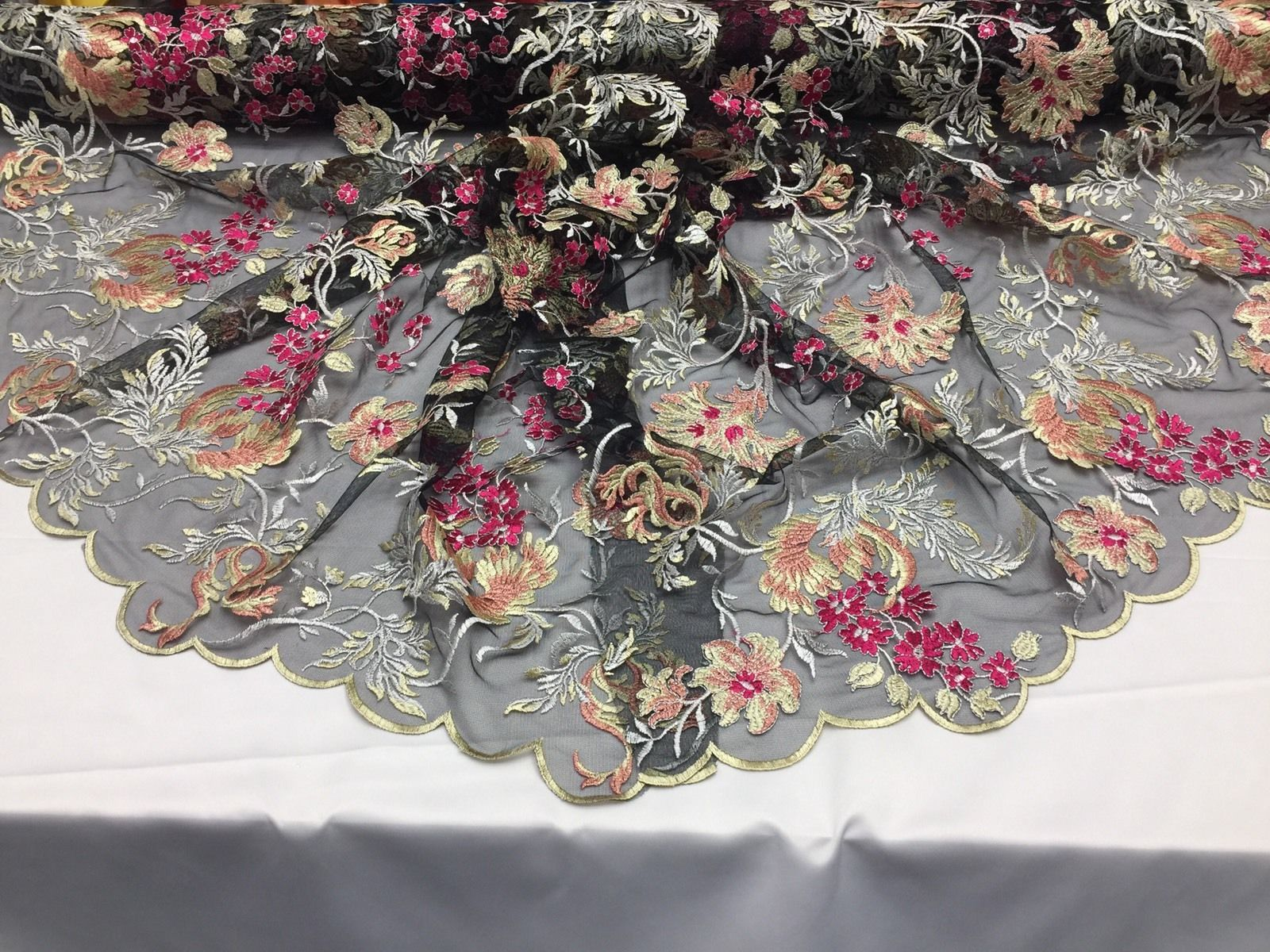 Flower Fabric - Mesh Lace Multi-Color For Bridal Wedding Dress By The Yard - KINGDOM OF FABRICS