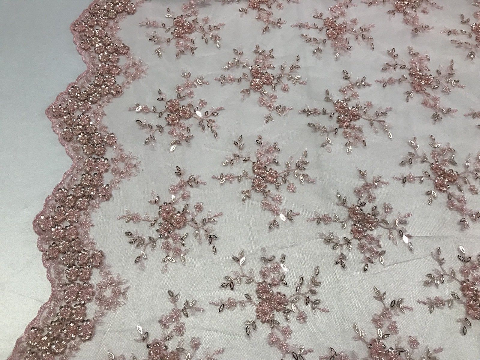 Lace Fabric - Lt Pink Mesh Embroidery Beaded & Crystal Sequins By The Yard
