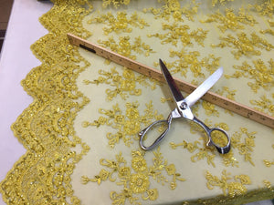 Majestic bridal wedding super beaded mesh lace fabric bright yellow. Sold 1 Yard