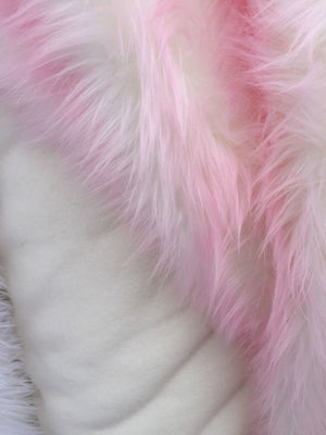 Super Soft Faux Fur Twotone Shaggy Pink Offwhite Fabric. Sold By Yard - KINGDOM OF FABRICS