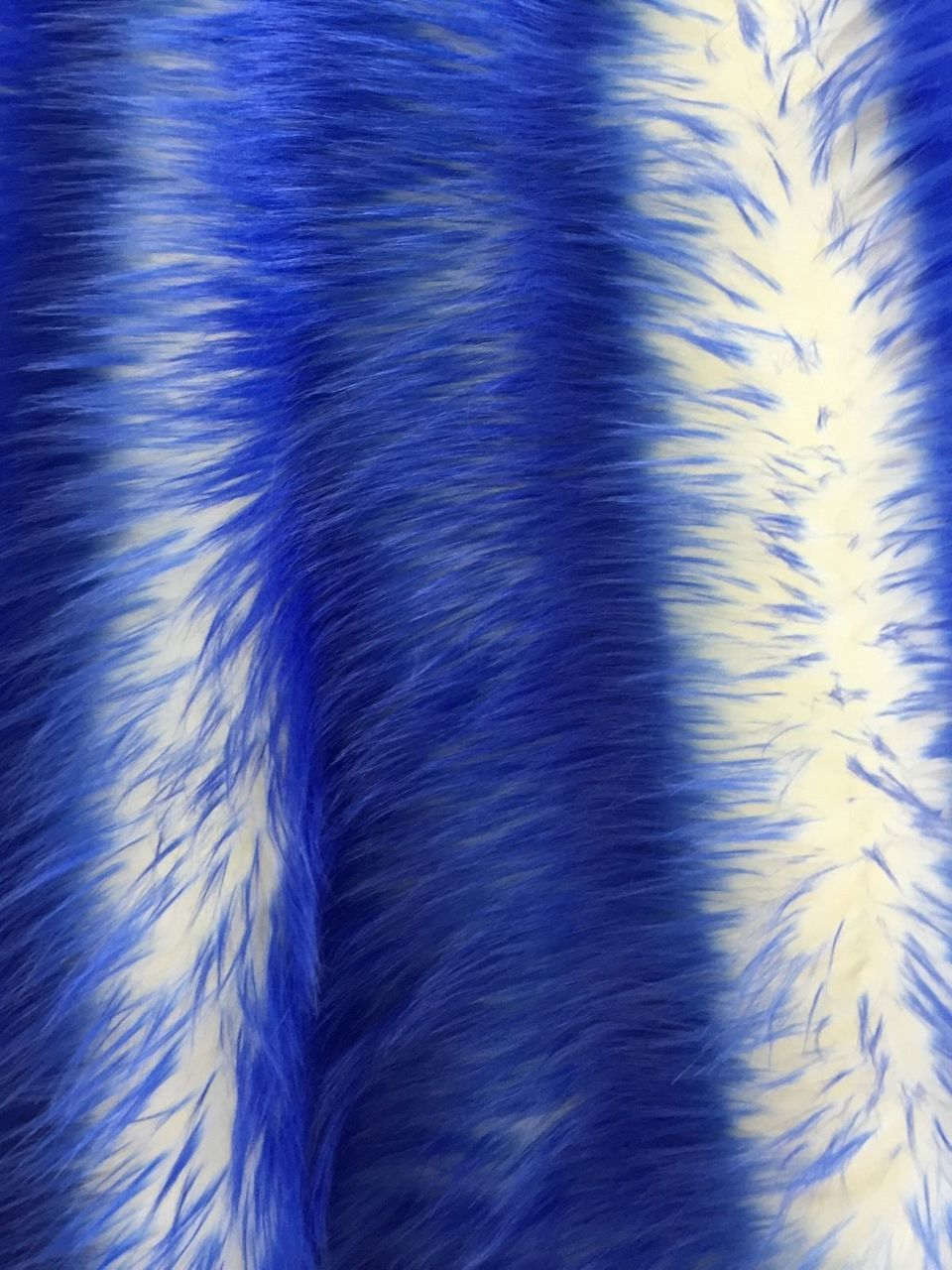 Super Soft Faux Twotone Shaggy Royal Blue Offwhite Fabric. Sold By Yard - KINGDOM OF FABRICS
