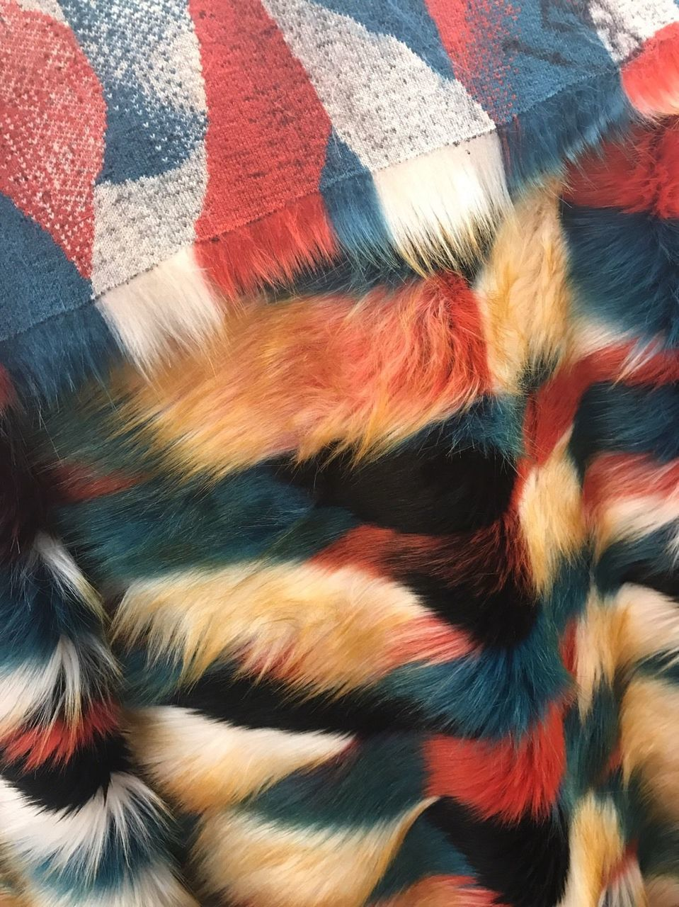 Majestic Design Faux Fur Fabric Multi Color Green Top Luxury. Sold By Yard - KINGDOM OF FABRICS